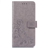Lucky Clover Pressed Flowers Pattern Leather Case for Huawei Y9 (2019) / Enjoy 9 Plus, with Holder & Card Slots & Wallet & Hand Strap (Grey)