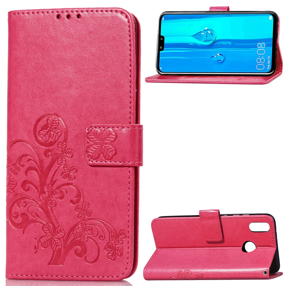 Lucky Clover Pressed Flowers Pattern Leather Case for Huawei Y9 (2019) / Enjoy 9 Plus, with Holder & Card Slots & Wallet & Hand Strap (Magenta)