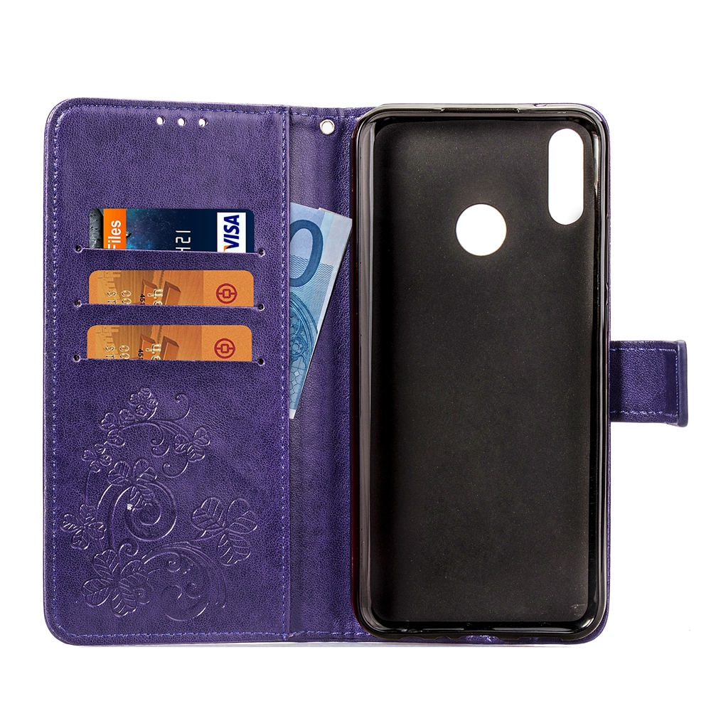 Lucky Clover Pressed Flowers Pattern Leather Case for Huawei Y9 (2019) / Enjoy 9 Plus, with Holder & Card Slots & Wallet & Hand Strap (Purple)