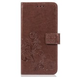 Lucky Clover Pressed Flowers Pattern Leather Case for Huawei Y9 (2019) / Enjoy 9 Plus, with Holder & Card Slots & Wallet & Hand Strap (Brown)