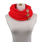 Winter Round Buttons Gaiter Scarf Women Thick Warm Wool Knitted Scarves Collar (Red)