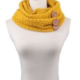 Winter Round Buttons Gaiter Scarf Women Thick Warm Wool Knitted Scarves Collar (Yellow)
