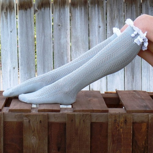 Sexy Lace Stockings Women Thigh High Over Knee Socks Spring Winter Long Socks Fashion Girls Cotton Stocking (Light Grey)
