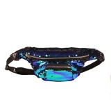 Sequins Waist Bag Double Color Makeup Bag Mermaid Purses Chest Pack Women Girl Travelling Mobile Phone Bag (Lake Blue)
