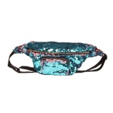 Sequins Waist Bag Double Color Makeup Bag Mermaid Purses Chest Pack Women Girl Travelling Mobile Phone Bag (Blue)