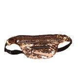 Sequins Waist Bag Double Color Makeup Bag Mermaid Purses Chest Pack Women Girl Travelling Mobile Phone Bag (Mocha Gold)