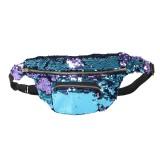 Sequins Waist Bag Double Color Makeup Bag Mermaid Purses Chest Pack Women Girl Travelling Mobile Phone Bag (Mint Blue)
