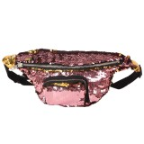 Sequins Waist Bag Double Color Makeup Bag Mermaid Purses Chest Pack Women Girl Travelling Mobile Phone Bag (Rose Gold)