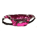 Sequins Waist Bag Double Color Makeup Bag Mermaid Purses Chest Pack Women Girl Travelling Mobile Phone Bag (Rose Red)