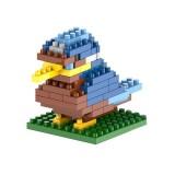 Blue Bird Cartoon Assembled Children DIY Enlightenment Assembled Building Blocks Educational Intelligence Toy