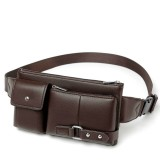 Universal Outdoor Men Shoulder Messenger Bags Retro Men Waist Bag, Size: S (24.5cm x 13cm x 1cm) (Brown)