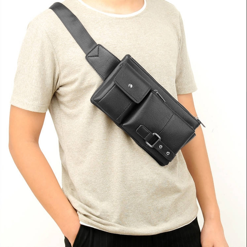 Universal Outdoor Men Shoulder Messenger Bags Retro Men Waist Bag, Size: L (27cm x 15cm x 1cm) (Black)
