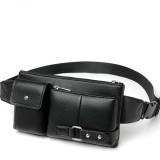 Universal Outdoor Men Shoulder Messenger Bags Retro Men Waist Bag, Size: L (27cm x 15cm x 1cm) (Black)