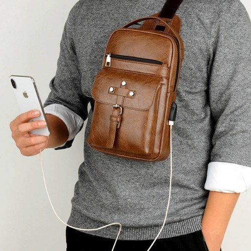 Universal Fashion Casual Outdoor Men Shoulder Messenger Bags Retro Men Waist Bag with Charging Port, Size: S (26cm x 17cm x 5.5cm) (Khaki)