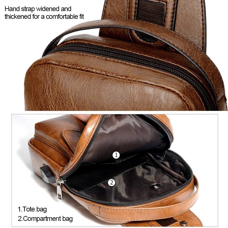 Universal Fashion Casual Outdoor Men Shoulder Messenger Bags Retro Men Waist Bag with Charging Port, Size: S (26cm x 17cm x 5.5cm) (Brown)