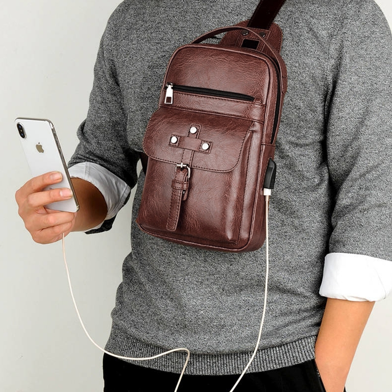 Universal Fashion Casual Outdoor Men Shoulder Messenger Bags Retro Men Waist Bag with Charging Port, Size: L (28cm x 19cm x 5.5cm) (Brown)