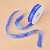 English Letter Colored Printed Ribbons Gift Bouquet Ribbons Bowknot Flowers Packaging Ribands, Size: 45m x 2.5cm (Blue)