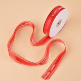 English Letter Colored Printed Ribbons Gift Bouquet Ribbons Bowknot Flowers Packaging Ribands, Size: 45m x 2.5cm (Red)