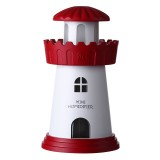 2.5W Lighthouse Portable USB Mute Mini Humidifier Nebulizer with LED Night Light for Office, Home Bedroom, Car, Capacity: 150ml, DC 5V (Red)