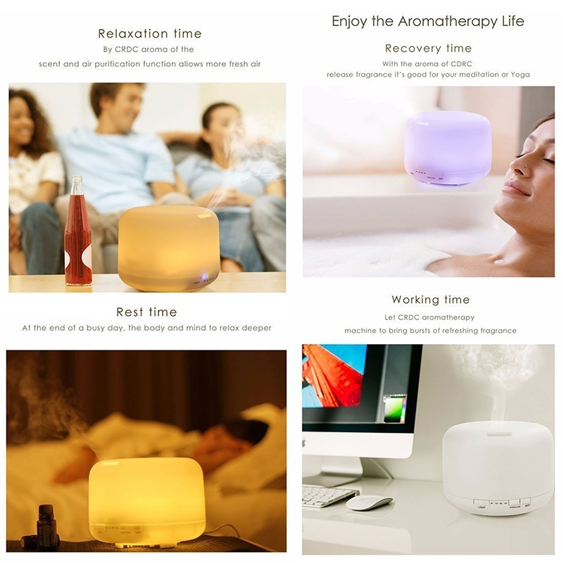 T500 Remote Control Clear White Air Humidifier Essential Oil Diffuser Ultrasonic Mist Maker Ultrasonic Aroma Diffuser Atomizer Color LED, Capacity: 500ml, DC 24V, US Plug