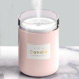 3life-204 1.5W Candle USB Desk Humidifier Diffuser Aroma Mist Nebulizer with LED Night Light for Office, Home Bedroom, Capacity: 220ml, DC 5V (Pink)