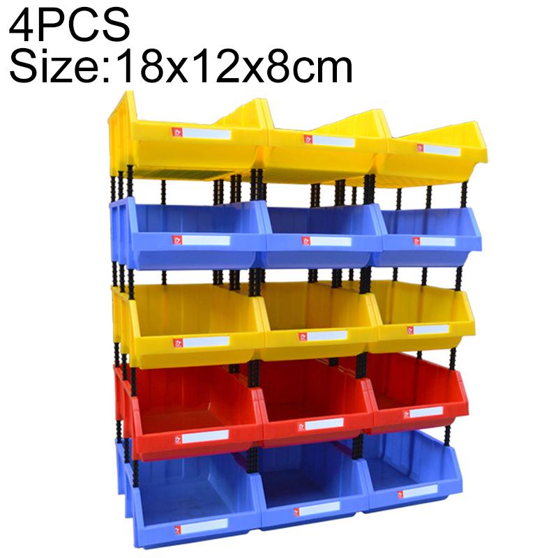 4 PCS Thickened Oblique Plastic Box Combined Parts Box Material Box, Random Color, Size: 18cm X 12cm X 8cm
