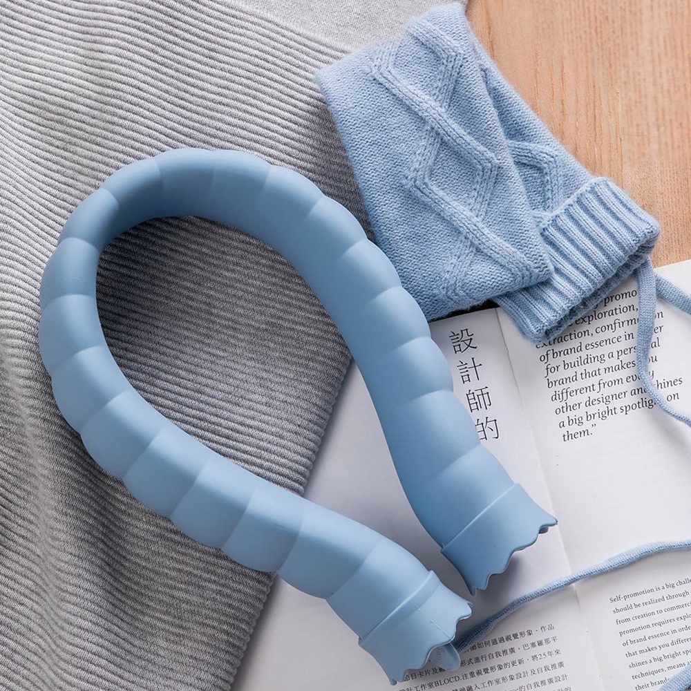 Original Xiaomi Warm Water Bag U-shaped Silicone Hot Water Bag For Your Neck with Sweater Cover (Blue)
