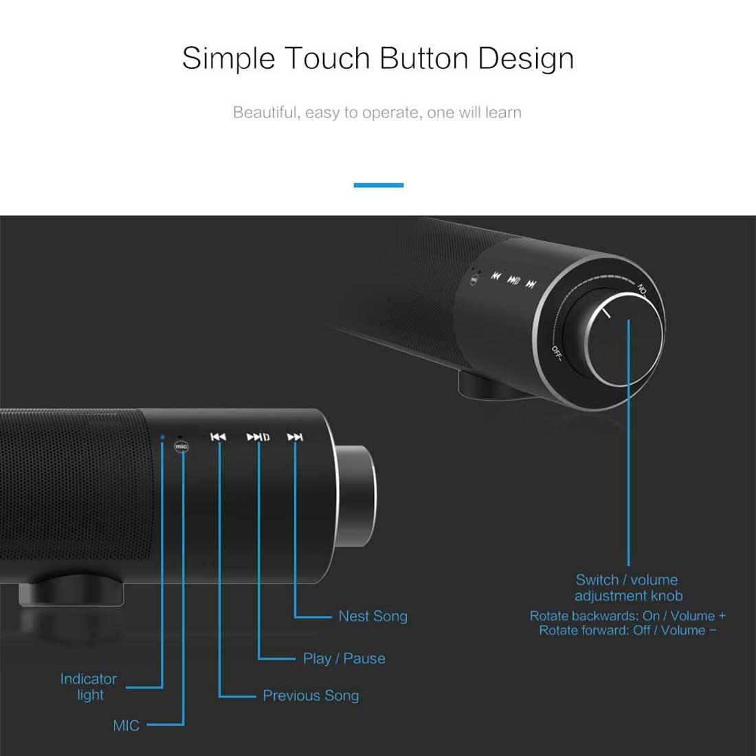 SOUND BAR X6 Bluetooth 4.2 Cylinder Metal Bluetooth Speaker (Black)