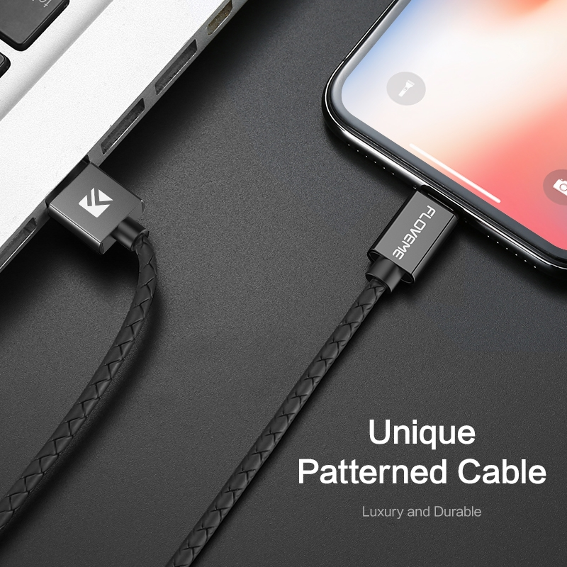 FLOVEME 1m 3A USB to 8 Pin Magnetic Embossed PET Fast Charging & Data Cable, For iPhone XR / iPhone XS MAX / iPhone X & XS / iPhone 8 & 8 Plus / iPhone 7 & 7 Plus / iPhone 6 & 6s & 6 Plus & 6s Plus / iPad (Black)