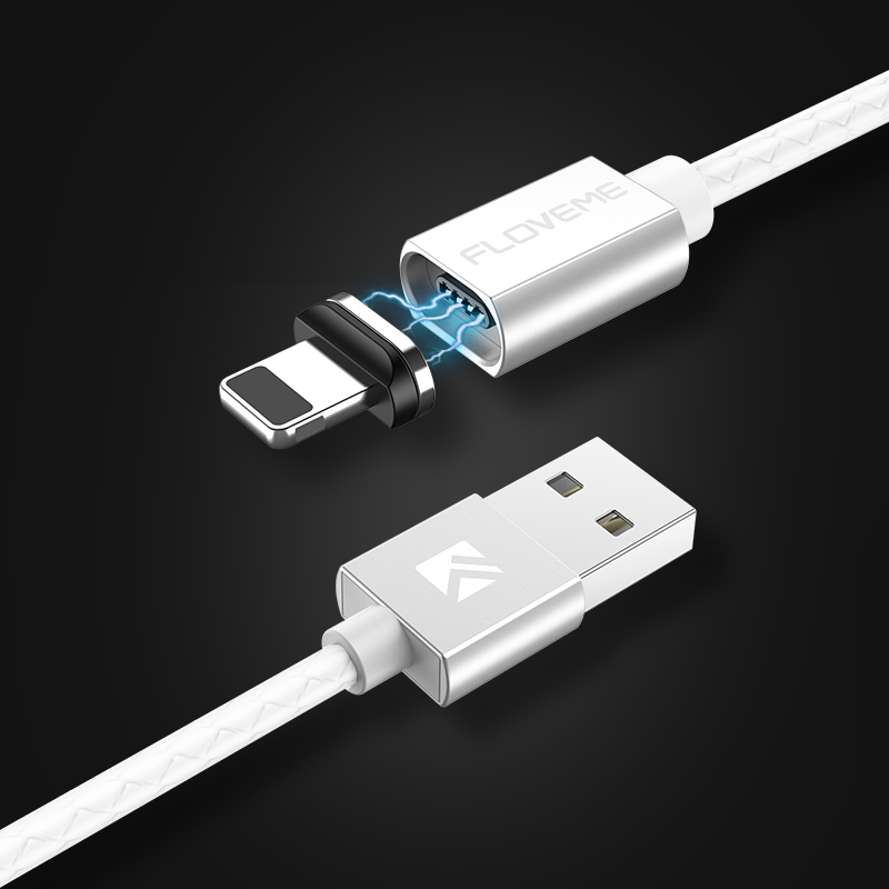 FLOVEME 1m 3A USB to 8 Pin Magnetic Embossed PET Fast Charging & Data Cable, For iPhone XR / iPhone XS MAX / iPhone X & XS / iPhone 8 & 8 Plus / iPhone 7 & 7 Plus / iPhone 6 & 6s & 6 Plus & 6s Plus / iPad (White)