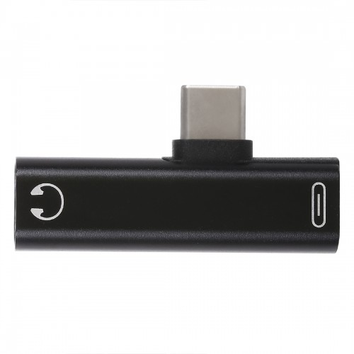 2 in 1 USB-C / Type-C Male to USB-C / Type-C Female 3.5mm Jack Charging Listening Adapter (Black)