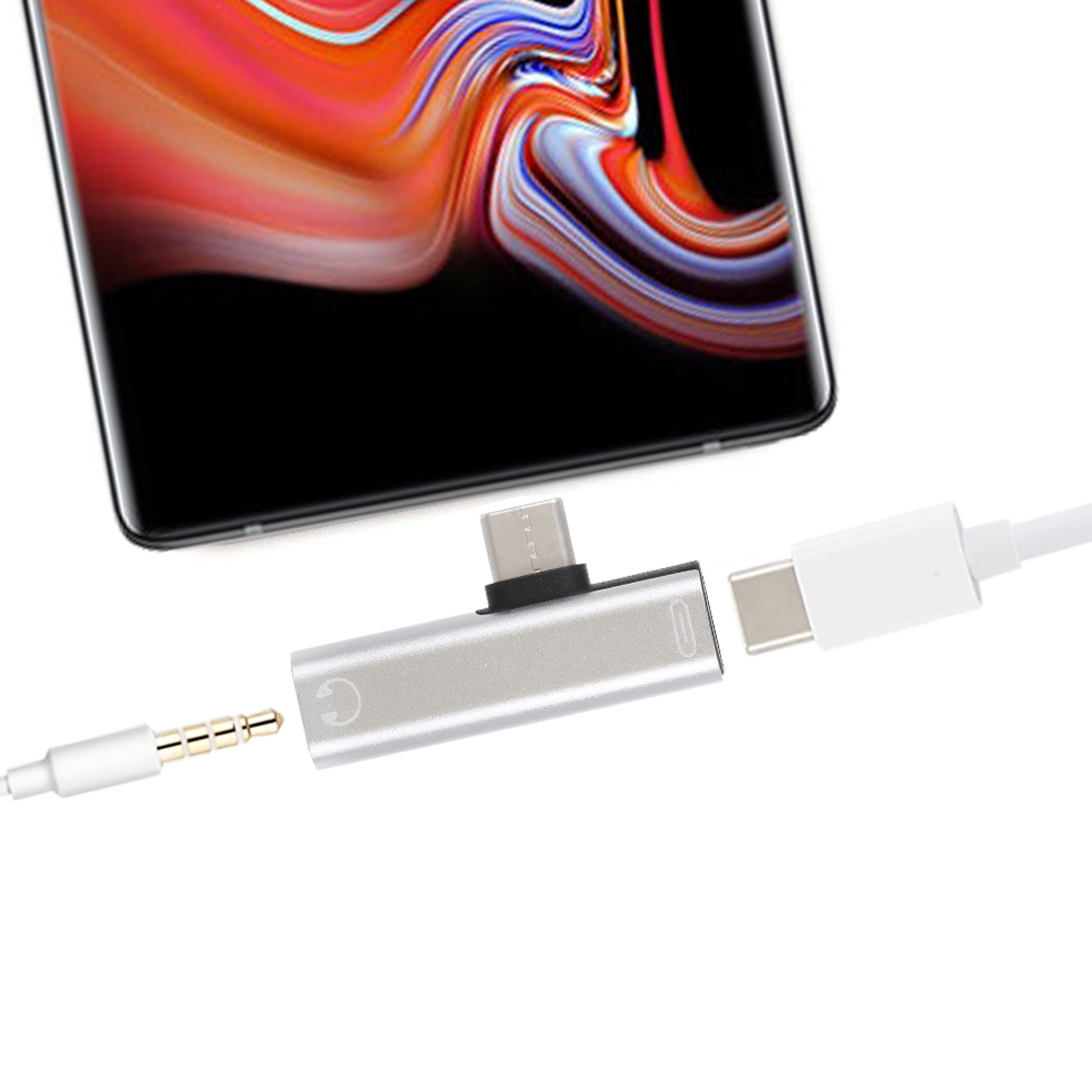 2 in 1 USB-C / Type-C Male to USB-C / Type-C Female 3.5mm Jack Charging Listening Adapter (Silver)