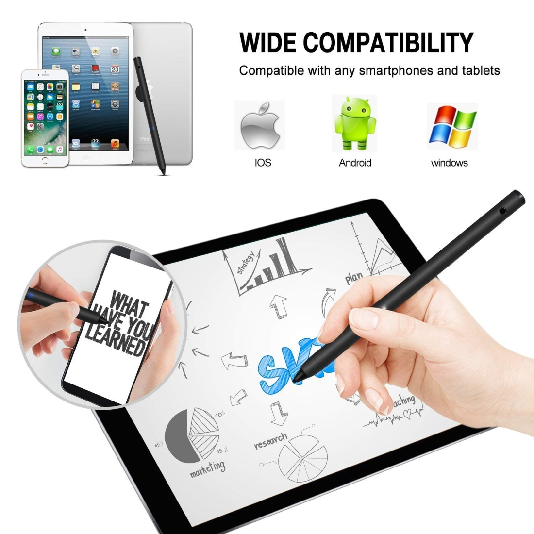 Active Capacitive Pen Stylus Pen for iPhone / iPad / Samsung Tablet PC, For iPhone / iPad / Samsung and Other Capacitive Touch Screen Devices (Black)
