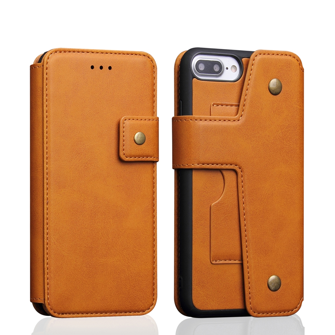 Cowhide Texture Magnetic Absorption Detachable Horizontal Flip Leather Case for iPhone 8 Plus & 7 Plus, with Holder & Card Slots & Wallet (Yellow)