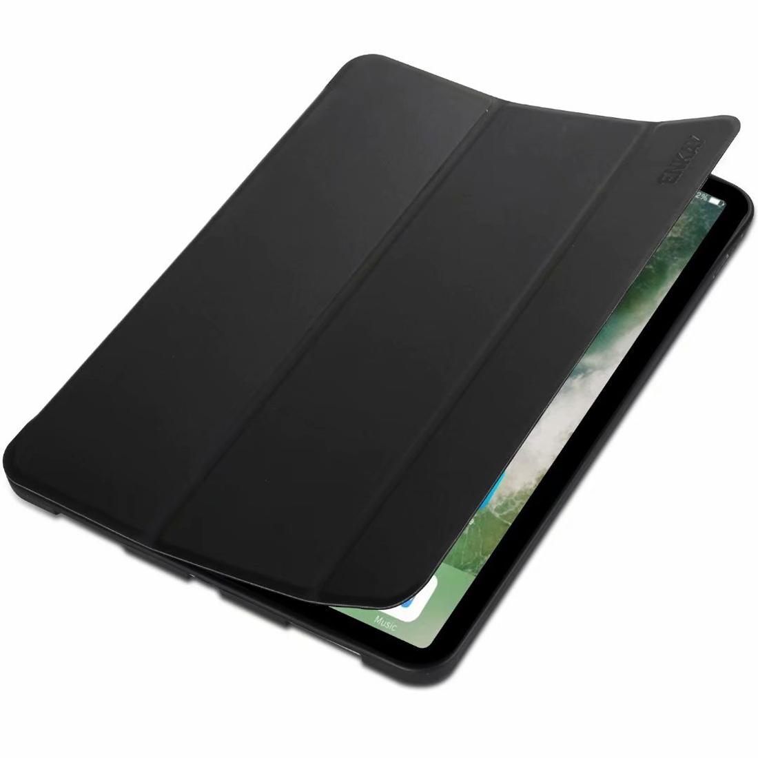 ENKAY Lambskin Texture + TPU Bottom Case Horizontal Flip Leather Case for iPad Pro 11 inch (2018) with Three-folding Holder & Sleep / Wake-up Function (Black)