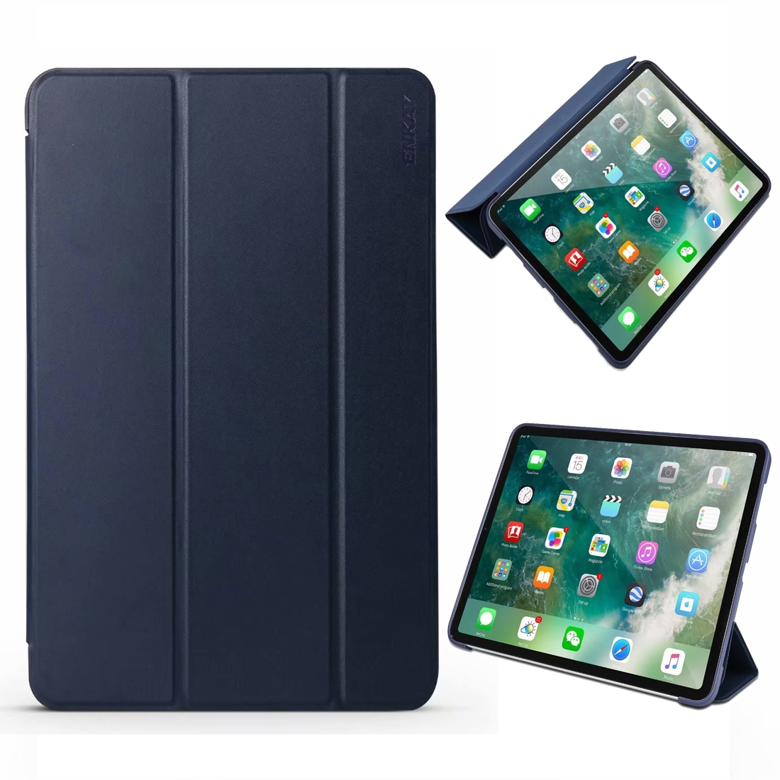 ENKAY Lambskin Texture + TPU Bottom Case Horizontal Flip Leather Case for iPad Pro 11 inch (2018) with Three-folding Holder & Sleep / Wake-up Function (Blue)