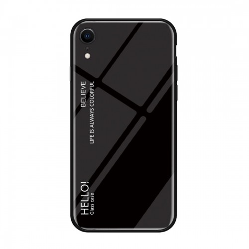 Gradient Color Glass Case for iPhone XR (Black)