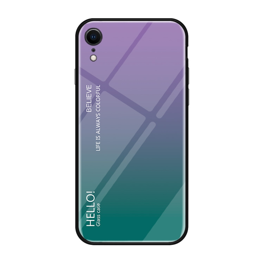 Gradient Color Glass Case for iPhone XR (Purple)