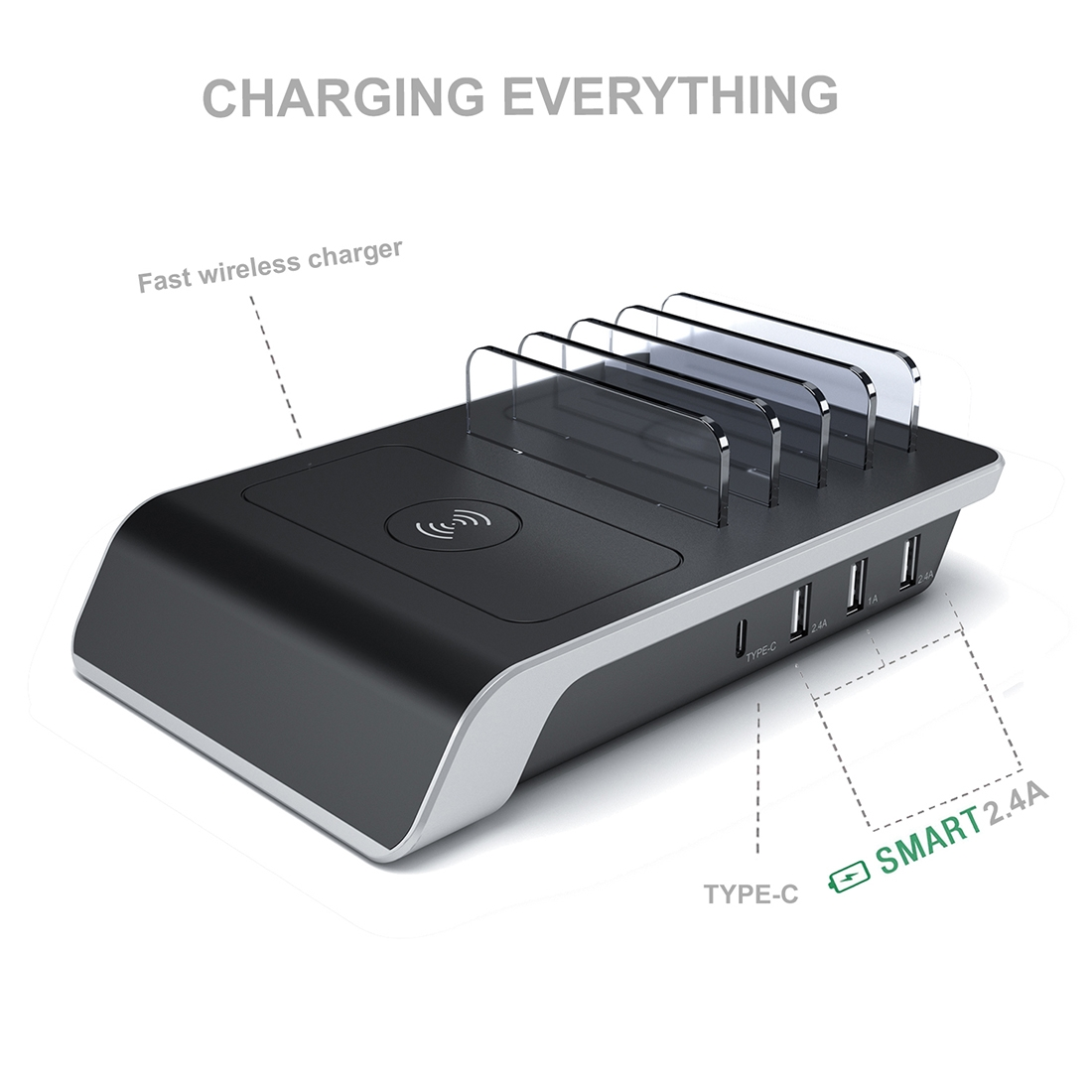 4 USB Ports Qi Standard Wireless Charger Phone Desktop Stand Holder, For iPhone, Huawei, Xiaomi, HTC, Sony and Other Smart Phones, US Plug