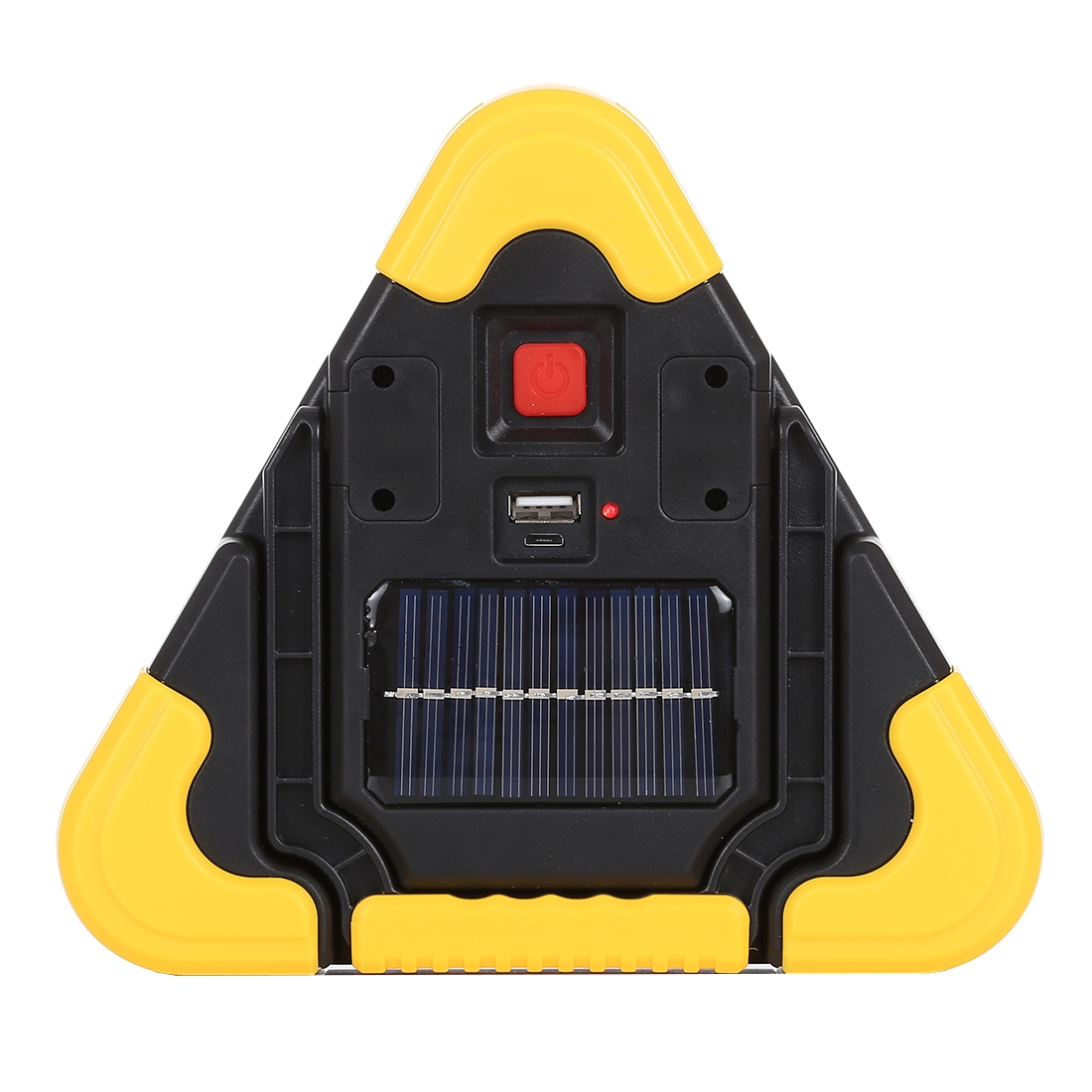 HB-6609R 10W Multi-function Portable Triangle Shape Solar Powered COB LED Work Light, 500 LM Outdoor Emergency Warning Light with Holder & Solar Panel for Mountaineering, Mined Underground, Fishing, Repair (White Light)