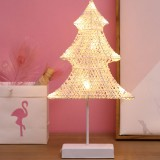 Christmas Tree Shape Rattan Romantic LED Holiday Light with Holder, Warm Fairy Decorative Lamp Night Light for Christmas, Wedding, Bedroom (Warm White)