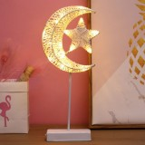 Star and Moon Rattan Romantic LED Holiday Light with Holder, Warm Fairy Decorative Lamp Night Light for Christmas, Wedding, Bedroom (Warm White)