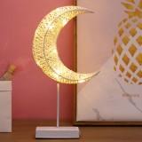 Moon Shape Rattan Romantic LED Holiday Light with Holder, Warm Fairy Decorative Lamp Night Light for Christmas, Wedding, Bedroom (Warm White)