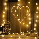 Heart Shape Romantic LED String Holiday Light with Holder, Warm Fairy Decorative Lamp Night Light for Christmas, Wedding, Bedroom (Warm White)