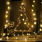 Christmas Tree Shape Romantic LED String Holiday Light with Holder, Warm Fairy Decorative Lamp Night Light for Christmas, Wedding, Bedroom (Warm White)