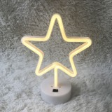 Star Shape Romantic Neon LED Holiday Light with Holder, Warm Fairy Decorative Lamp Night Light for Christmas, Wedding, Party, Bedroom (Warm White)