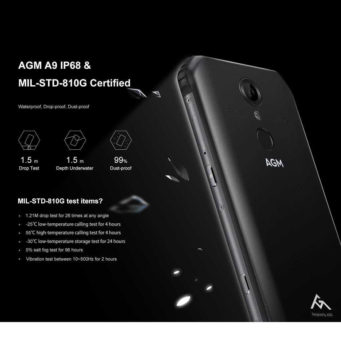 AGM A9 Rugged Phone, 4GB+64GB, IP68 Waterproof Dustproof Shockproof, Fingerprint Identification, 5400mAh Battery, 5.99 inch Android 8.1 Qualcomm SDM450 Octa Core, Network: 4G, OTG, NFC (Black)