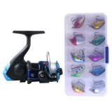 SetJL200 Box0149 Fishing Spinning Wheel Set Wheel 3BB Ball Bearings Wheel Seat Fishing Reel with 40m Fishing Lines & 10 PCS fishing Baits (Blue)