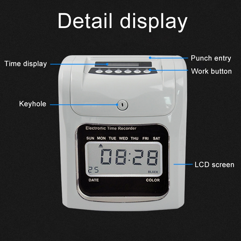 LCD Screen Electronic Time Clock Paper Card English Attendance Machine  Punch Machine, Support Music Bell