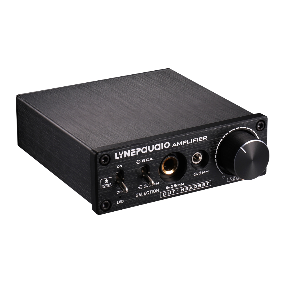 LINEPAUDIO B899 Pre-stage Stereo Signal Amplifier Booster Dual Sound Source  Headphone Amplifier 2 in 3 out with Volume Control (Black)